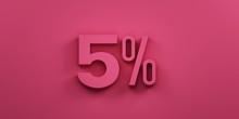 5 Percent Discount. 3D Render ...