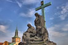 The Pieta On Charles Bridge In Prague, Czech Republic