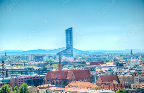 Aerial view of Wroclaw with the sky tower shopping mall, Poland Fototapete