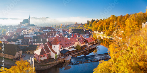 Historic town of Cesky Krumlov at sunrise, Bohemia, Czech Republic Wallpaper Mural