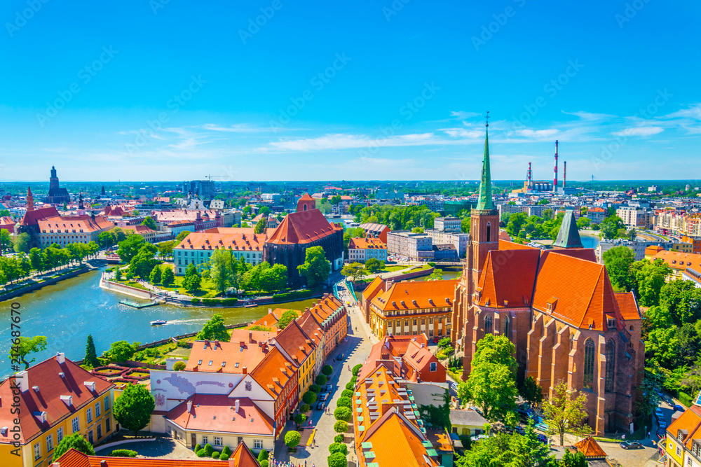 Fototapeta Aerial view of Wroclaw with church of our lady of the sand and church of the Holy Cross and St Bartholomew, Poland
