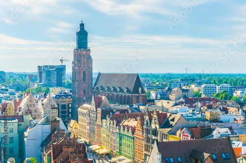 Fototapety, obrazy: Aerial view of Wroclaw dominated by tower of the town hall, Poland