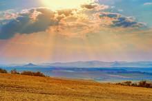 Sunset Or Evening Landscape Of...