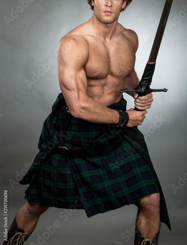 Fotografie, Obraz  Highlander Man in Kilt