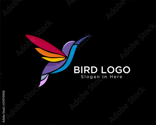 Fototapeta modern colorful hummingbird fly logo