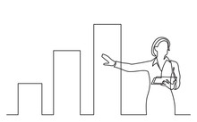 Continuous Line Drawing Of Business Presentation - Business Woman Trainer Pointing At Chart