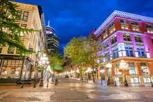 Vancouver's Gastown District At Blue Hour