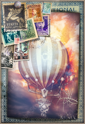Foto op Aluminium Imagination Hot air balloon in the sunset of fire - old fashioned postcard
