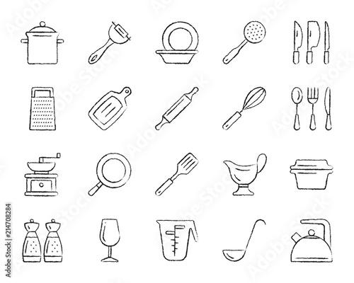 Fotografía  Kitchenware charcoal draw line icons vector set