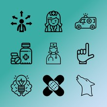 Vector Icon Set About Medicine With 9 Icons Related To Cat, Art, First, Consultation, Stick, Wound, Graphic, Band, Group And Flat