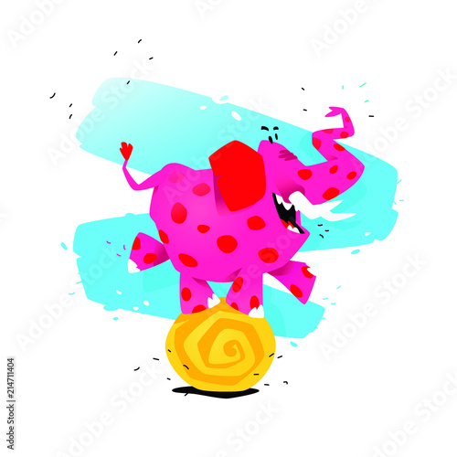 Illustration of a cartoon pink elephant on a ball Poster