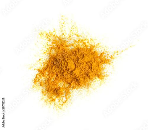 Fototapeta Turmeric (Curcuma) powder pile isolated on white background, top view. obraz