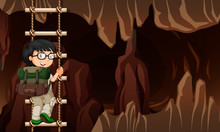 A Man Climbing Ladder In Cave