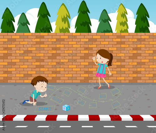 Photo Children drawing game on footpath