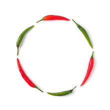 Creative Layout Chilli Peppers. Circle Form Made From Green And Red Hot Pepper, Isolated On White. Copy Space For Text. Top View Or Flat-lay.