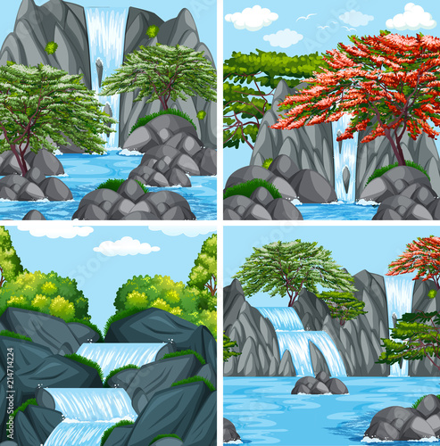 A set of beautiful waterfall Wall mural
