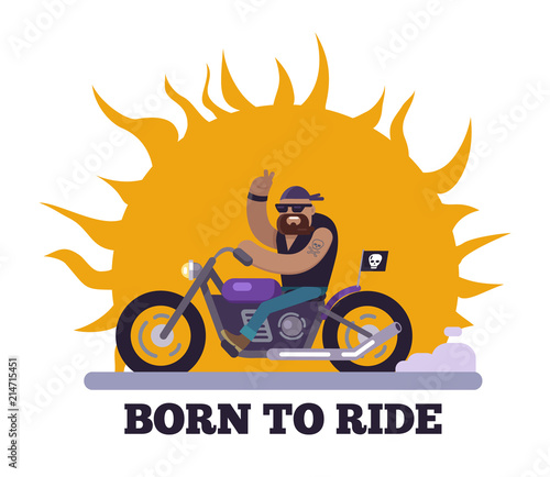 Photo  Born to Ride Poster Motorcycle Vector Illustration