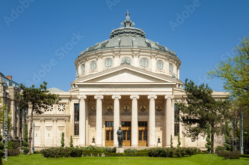 In de dag Theater Historical landmark and vintage music hall concept with a daytime view of the Romanian Athenaeum (or Ateneul Roman), opened in 1888 to be the main concert hall in the city of Bucharest, Romania