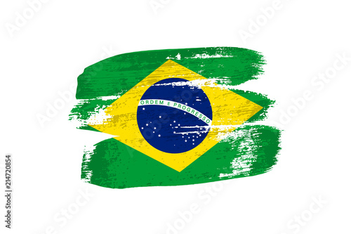 Brazilian flag painted with brush strokes Canvas Print