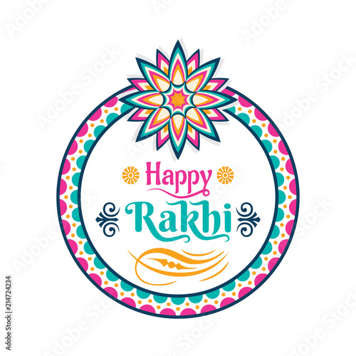 Fotografering  decorative happy rakhi festival greeting card design