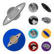 Mercury, Pluto of the Planet of the Solar System. A black hole and a meteorite. Planets set collection icons in monochrome,flat style vector symbol stock illustration web.