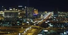 Las Vegas Strip 4k Night Aerial Footage Over Freeway- DJI Inspire X5
