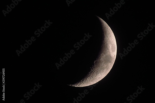 Part of the moon on black background