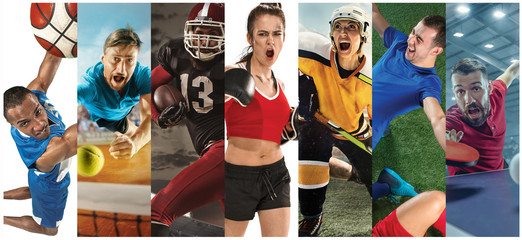 FototapetaSport collage about soccer, american football, basketball, tennis, boxing, field hockey, table tennis