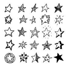 Hand Drawn Stars Doodles Set. ...
