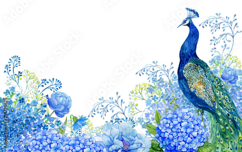Valokuva illustration for greeting cards, big bird and peacock blue flowers