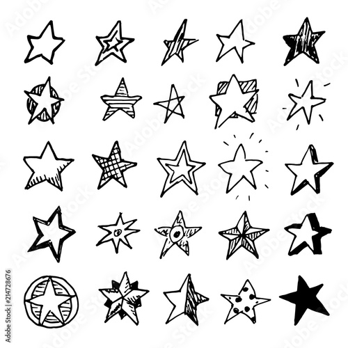 Hand Drawn stars doodles set. Sketch style icons. Decoration element. Isolated on white background. Flat design. Vector illustration Wall mural
