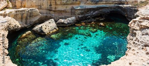Cavern Grotta della poesia, Roca Vecchia, Salento sea coast, Italy Wallpaper Mural