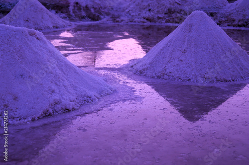 Foto op Aluminium Snoeien Magic sunrises on the surface of a salt lake in the Great Sahara. Ultraviolet coloring. Tunisia. Africa