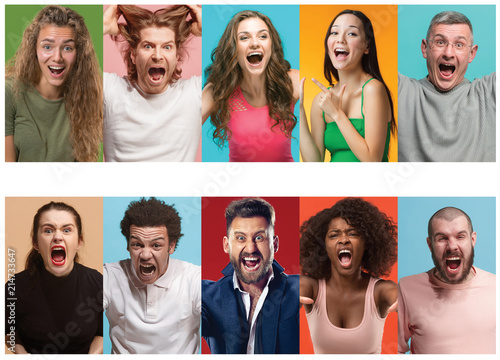 Angry people screaming Canvas Print