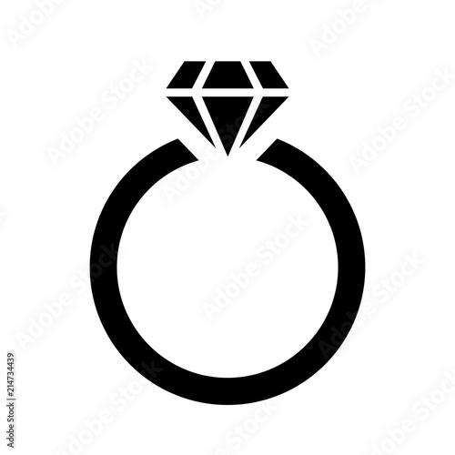Ring With Diamond Icon Vector Logo Template (Gold, Diamond