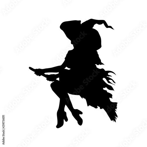 Fotografie, Tablou Icono plano silueta bruja en escoba en color negro