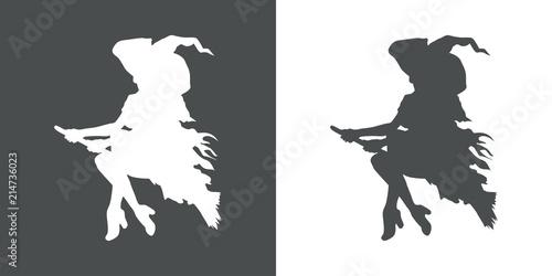 Fotografie, Obraz  Icono plano silueta bruja en escoba en gris y blanco