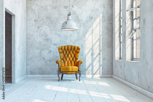 Fotografia vintage wall with  armchair.