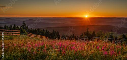 Spoed Foto op Canvas Ochtendgloren Sunrise on saxony's rooftop - Sonnenaufgang auf dem Dach von Sachsen