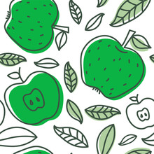 Apple Seamless Pattern. Hand D...