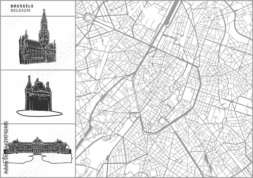 Fototapeta Brussels city map with hand-drawn architecture icons