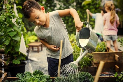 Obraz Kids learning how to farm and garden - fototapety do salonu