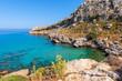 View of beautiful bay with crystal sea water near Agathi beach. Rhodes island, Greece