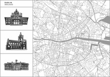 Dublin City Map With Hand-draw...
