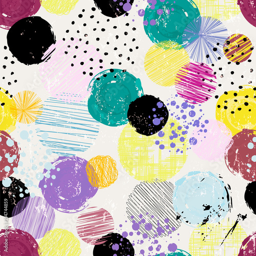 seamless art background pattern, with/dots, strokes and splashes