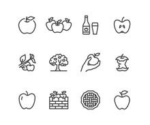 Apples Flat Line Icons. Apple ...