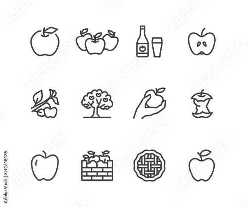 Canvastavla Apples flat line icons