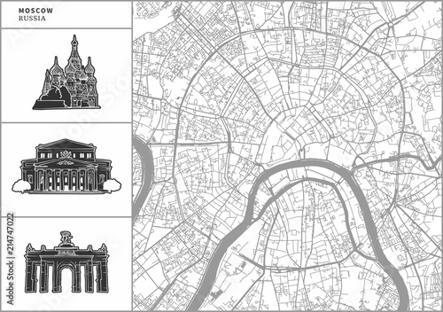 Photo Moscow city map with hand-drawn architecture icons