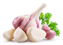Garlic Bulb, Garlic Cloves And Parsley On White Background.