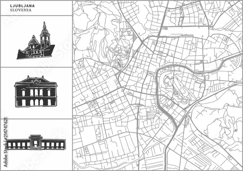 Ljubljana city map with hand-drawn architecture icons Wallpaper Mural
